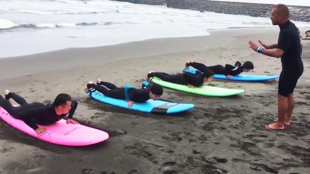 サーフィン体験レッスン,CHP,千葉一宮町,テイクオフ時の姿勢